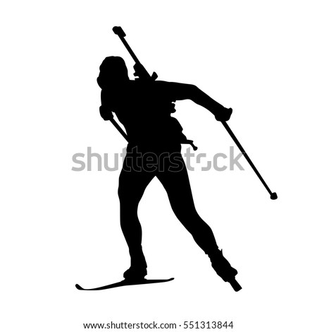 Biathlon Man Running Vector Isolated Silhouette Winter Sports Icon Cross Country Skiing