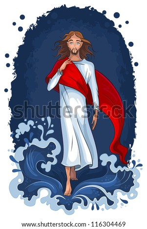 Bible story of Jesus walking on water. Christian background. The vector art illustration. Also available raster version - stock vector