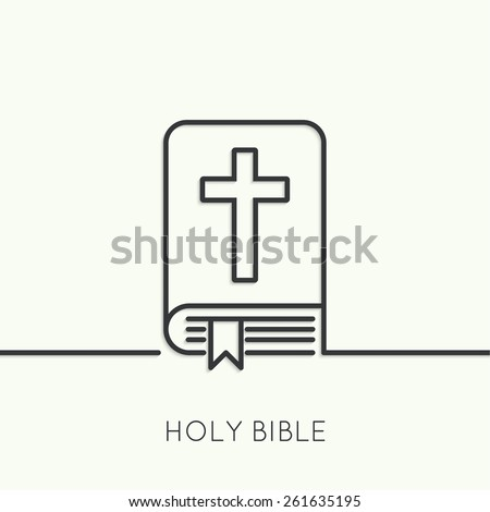 Bible with a crucifix. Symbols of Christianity and forgiveness. minimal. Outline. - stock vector