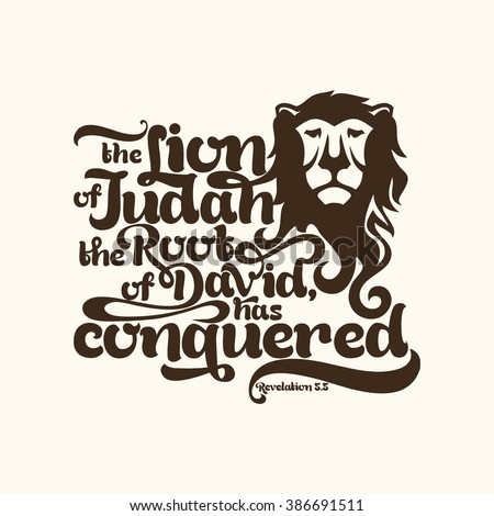 Biblical illustration. the Lion of the tribe of Judah, the Root of David, has conquered - stock vector