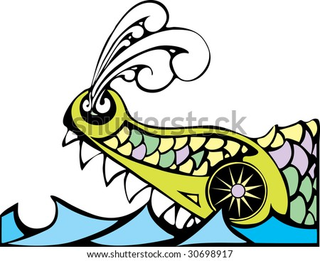 Biblical Leviathan of the ocean blowing steam from his nostrils. - stock vector