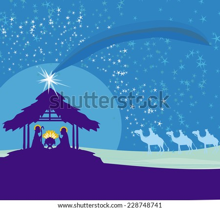 Biblical scene - birth of Jesus in Bethlehem.  - stock vector