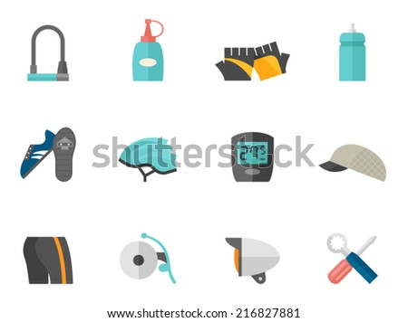 Bicycle accessories icons in flat color style - stock vector