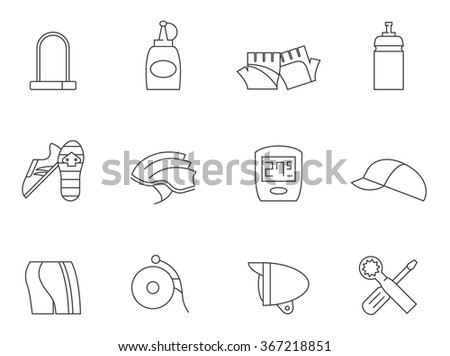 Bicycle accessories icons in outline style - stock vector