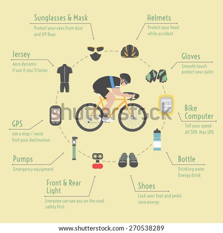 bicycle accessories, infographic, flat style - stock vector