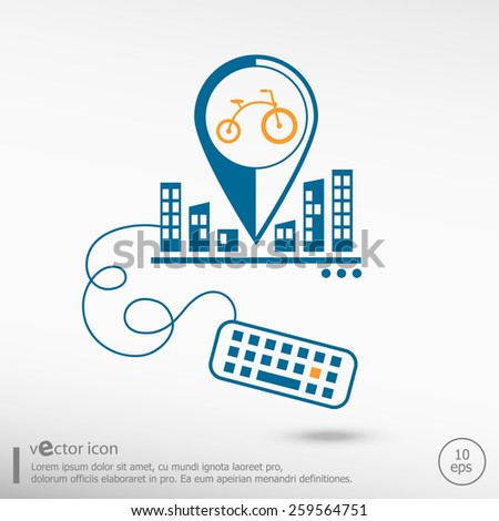Bicycle and keyboard. Line icons for application development, creative process. - stock vector