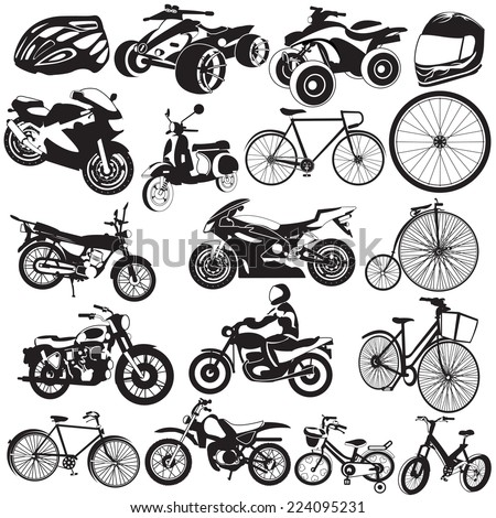 Bicycle and motorcycle black icons - stock vector