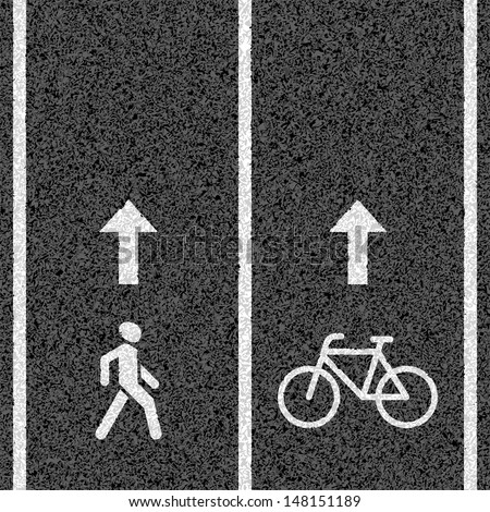 Bicycle and pedestrian paths. Vector. - stock vector