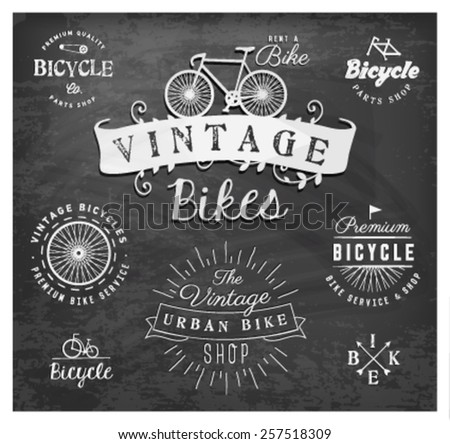 Bicycle Badges and Labels on Chalkboard - stock vector