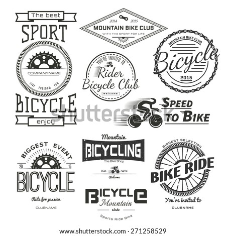 Bicycle badges logos and labels for any use, isolated on white background. - stock vector