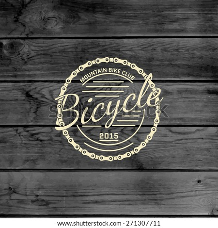Bicycle badges logos and labels for any use, on wooden background texture - stock vector