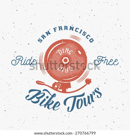 Bicycle Bell Abstract Retro Vector Label or Logo Template on Textured Background - stock vector