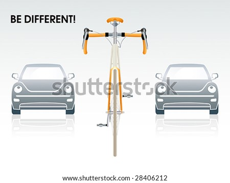 "Bicycle between gray cars | ""Be different"" series - stock vector"