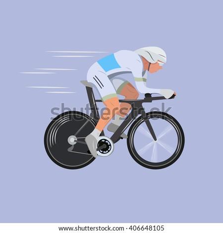 bicycle. bicycle racing. cyclist man. Cyclist man in road bicycle racing.  riding bicycle. riding bike. - stock vector