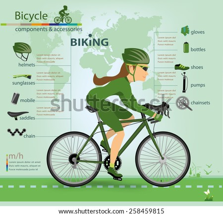 Bicycle bike sport fitness icons infographic set vector illustration - stock vector