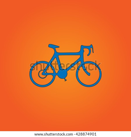 Bicycle. Blue flat icon with black stroke on orange background. Collection concept vector pictogram for infographic project and logo - stock vector