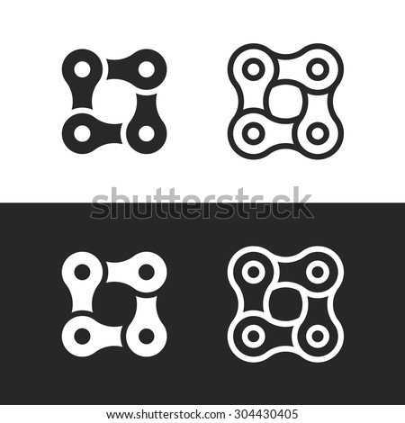 Bicycle chain links 4 pieces icon set. Corporate branding identity vector logo template - stock vector