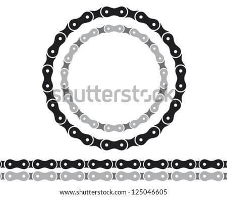 bicycle chain silhouettes - stock vector