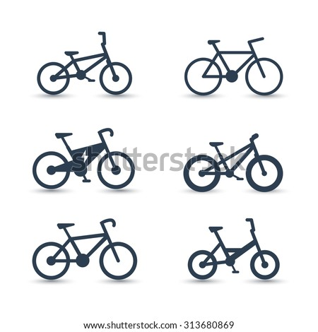 bicycle, cycling, bike, electric bike, fat-bike icons, vector illustration, eps10 - stock vector