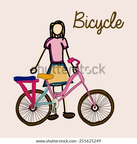 bicycle, desing over, white background, vector illustration. - stock vector