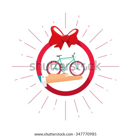 Bicycle gift vector badge icon with hand holding bycicle, heart bow symbol, happy, delivery service shop concept, flat illustration isolated on white, bike modern label design sticker, ribbon, emblem - stock vector