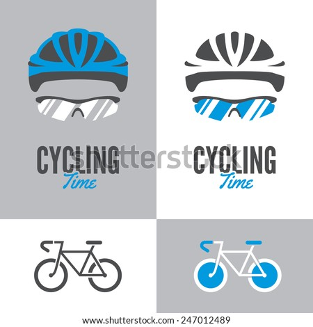 Bicycle icon and graphic sign with cycling helmet and glasses in two color variations - stock vector