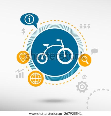 Bicycle icon. Creative design elements. Flat design concept - stock vector
