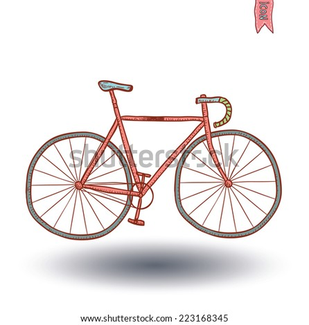 Bicycle icon, hand drawn illustration.    - stock vector