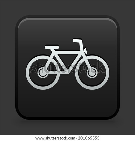 Bicycle Icon on Black and White Button  - stock vector