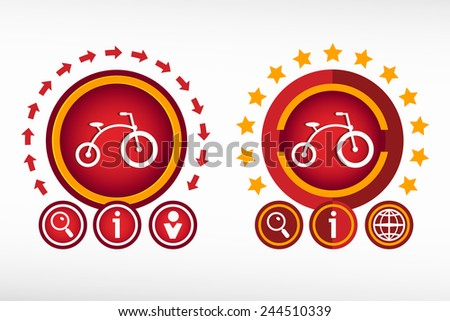 Bicycle icon on creative background. Red design concept for banner, web, advertising, print. - stock vector