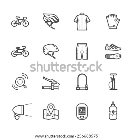 Bicycle icons and Biking icons - stock vector