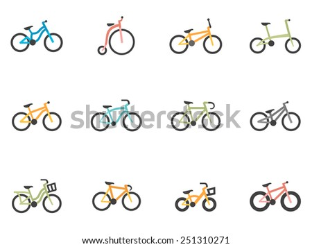 Bicycle icons in flat color style - stock vector