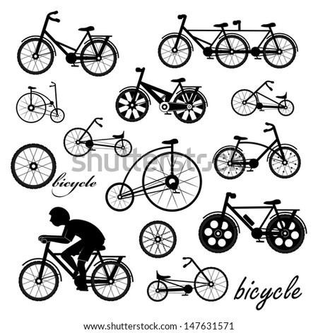 Bicycle Icons Set - Isolated On White Background - Vector Illustration, Graphic Design Editable For Your Design - stock vector