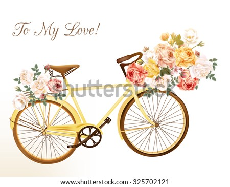 Bicycle in a yellow color with basket fully of rose flowers - stock vector