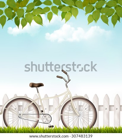 Bicycle in front of a white fence with green leaves. Vector. - stock vector
