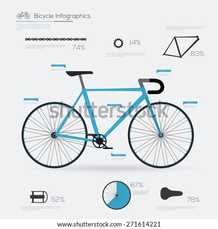 Bicycle infographic elements and parts. Flat vector illustration  - stock vector