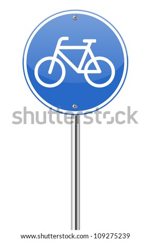 Bicycle lane sign on white - stock vector