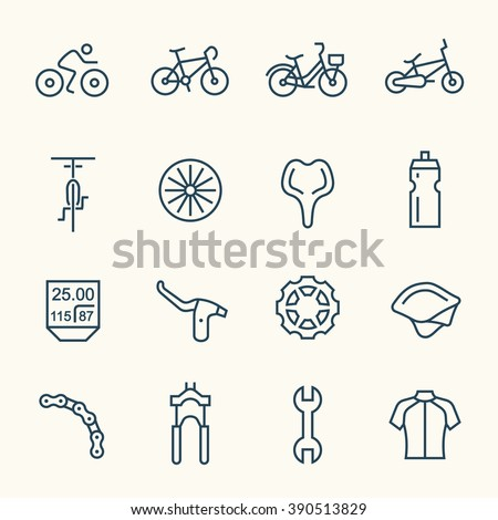 Bicycle line icons - stock vector