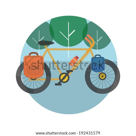 Bicycle near the trees. Bicycle tourism. Icons of traveling, planning a summer vacation, tourism and journey objects