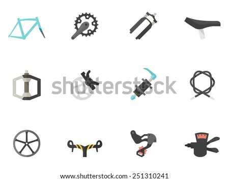 Bicycle part icons in flat color style - stock vector