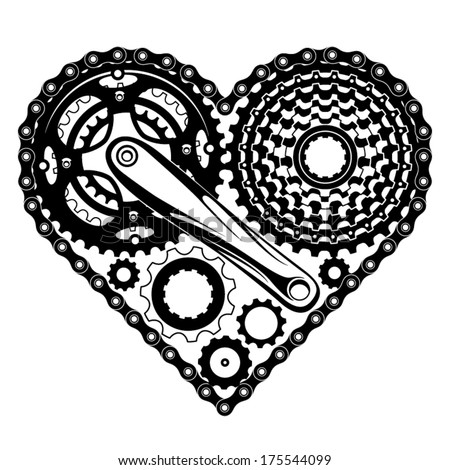 bicycle-parts-combined-in-a-heart-shape - stock vector