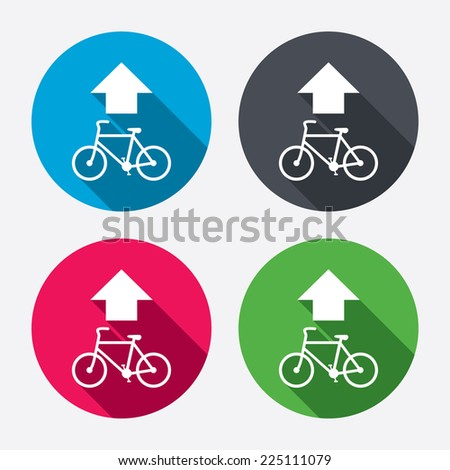 Bicycle path trail sign icon. Cycle path. Up straight arrow symbol. Circle buttons with long shadow. 4 icons set. Vector - stock vector