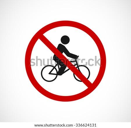 bicycle person forbidden sign icon - stock vector