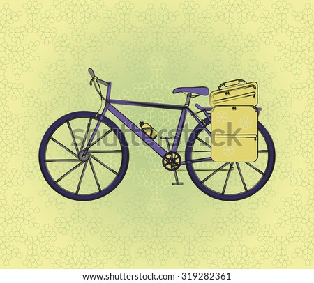 Bicycle postcard in retro style with flower background. Vector illustration