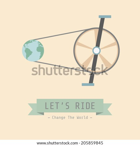 bicycle poster, environmental concept, flat style - stock vector