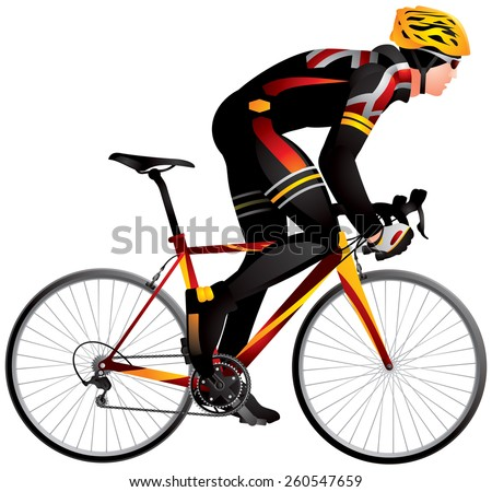 Bicycle racer 2 dynamic start realistic vector illustration, cycle race derby sport series - stock vector