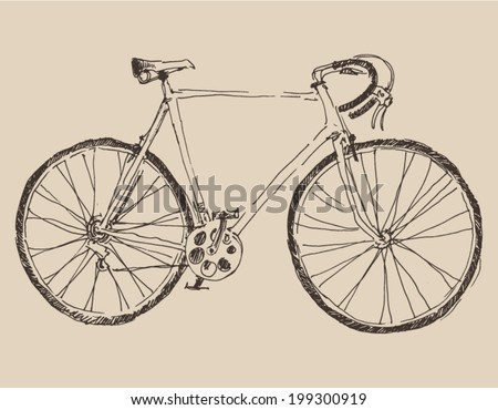 bicycle (racing bike) vintage illustration, engraved retro style, hand drawn, sketch - stock vector