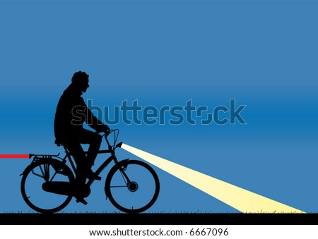 Bicycle rider in the night as silhouette with rear- and headlight on. Rear light as a stripe. - stock vector