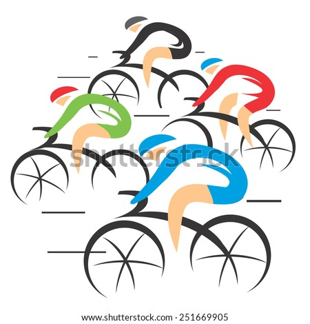 Bicycle road racers. Four stylized Bicycle road racers, colorful vector illustration.  - stock vector