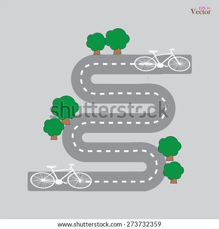 Bicycle route.bicycle route with bush.Bicycle symbol on bicycle lane.bicycle route.vector illustration. - stock vector